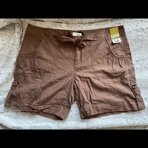 Old navy brown linen blend shorts size 18